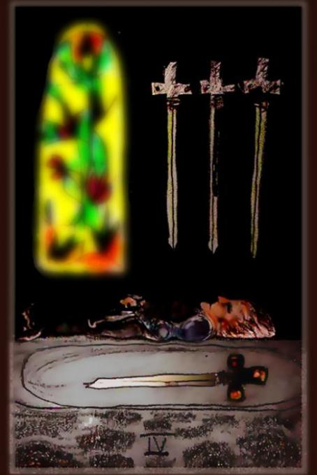 4 of Swords, veryshop't ; colored pencil on index cards, phoshp't; 2005-2009