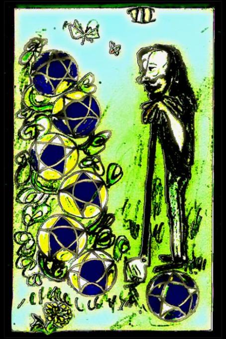 7 of Pentacles, Veryshopped; colored pencils,phoshop; 2005-09