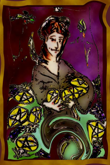 Nine of Pentacles, Veryshopped;colored pencil on index cards, pho'pped; 2005-2009