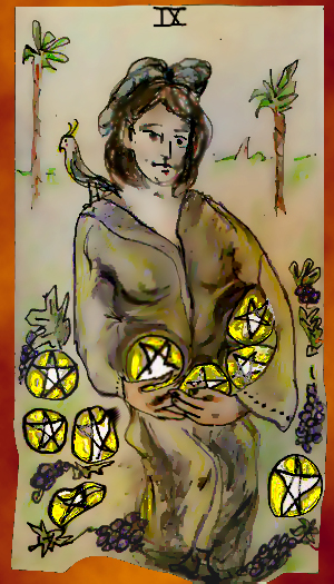 9ofPentacles,2x3.5deck;coloredpencilonindexcard,digitalized2004-2009
