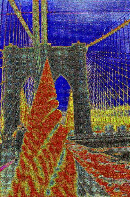 Brooklyn Bridge in red