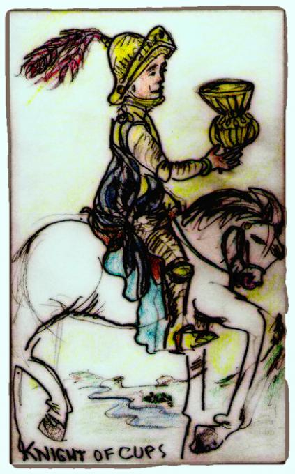 Knight of Cups, Slightlyshopped; coloredpencil on index cards; 2005-2009