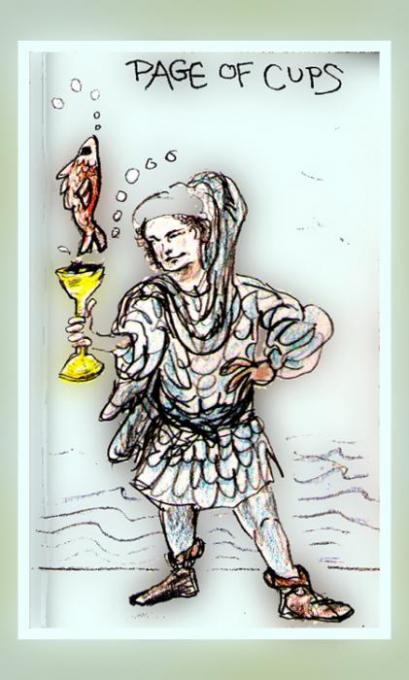 Page of Cups, slightlyshop't; colored pencils on index cards, pho'shp; 2005-2009