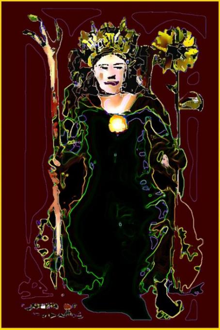 Queen of Wands; pencil, colored pencils on 3x5 index card, phoshopt; 2005-2009