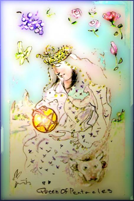 Queen of Pentacles, 'Shopped; colored pencil on 3x5index cards, photoshop't; 2005-2009