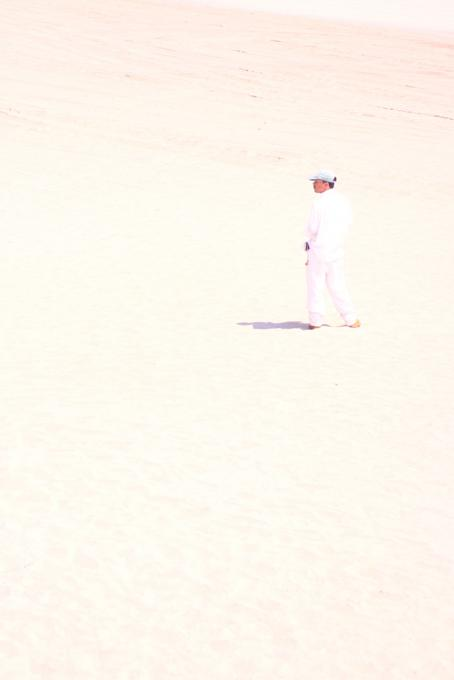 Lone thinker...a man in white..